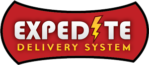 Expedite Delivery System Red Logo with Lightening Bolt