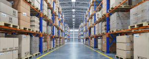 Warehouse with boxes stacked on shelves