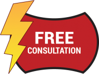 Free Consultation icon red with white text and yellow lightning bolt