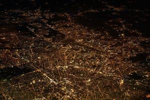 bird's eye view of nighttime roads